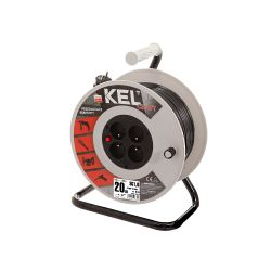 Extension cord reel with protection switch, black cable, length 25m