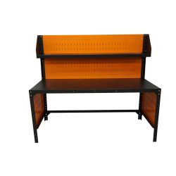 Metal workbench, 180x80cm, with perforated back wall and top shelf