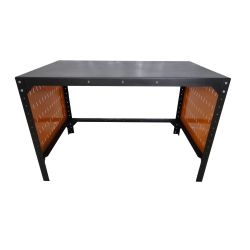 Steel office table, 125x75cm, perforated sidewall