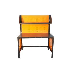 Metal workbench, 125x75cm, with perforated back wall and top shelf